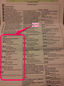 2012年 大統領選挙投票用紙