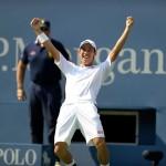 Kei Nishikori during his semifinal victory over Novak Djokovic in Arthur Ashe Stadium.