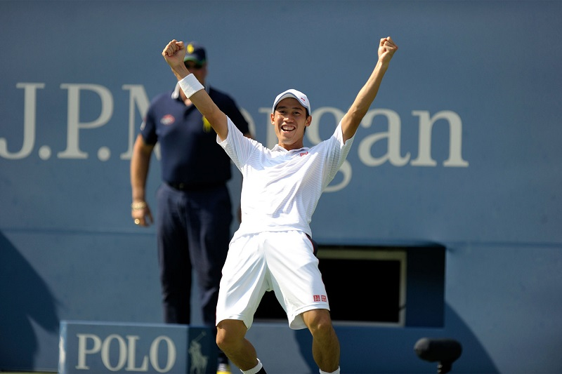 Kei Nishikori during his semifinal victory over Novak Djokovic in Arthur Ashe Stadium.