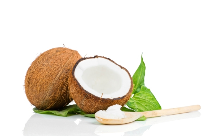 Coconut with green leaves